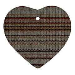 Stripy Knitted Wool Fabric Texture Heart Ornament (two Sides)