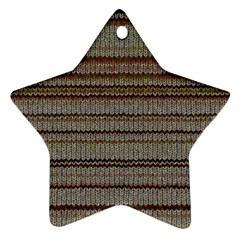 Stripy Knitted Wool Fabric Texture Star Ornament (two Sides)