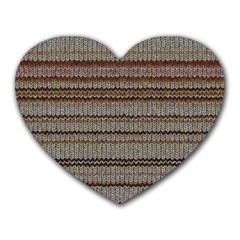 Stripy Knitted Wool Fabric Texture Heart Mousepads