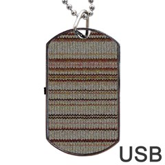 Stripy Knitted Wool Fabric Texture Dog Tag Usb Flash (two Sides) by BangZart