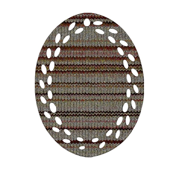 Stripy Knitted Wool Fabric Texture Oval Filigree Ornament (Two Sides)