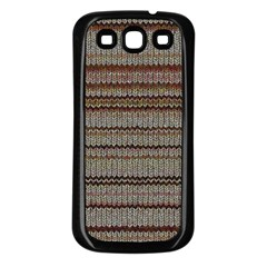 Stripy Knitted Wool Fabric Texture Samsung Galaxy S3 Back Case (black) by BangZart