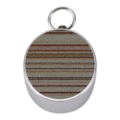 Stripy Knitted Wool Fabric Texture Mini Silver Compasses