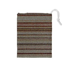 Stripy Knitted Wool Fabric Texture Drawstring Pouches (medium)  by BangZart