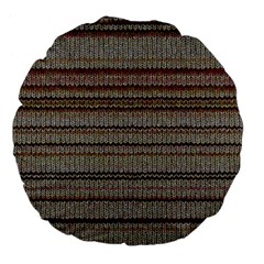 Stripy Knitted Wool Fabric Texture Large 18  Premium Flano Round Cushions
