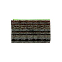 Stripy Knitted Wool Fabric Texture Cosmetic Bag (xs)