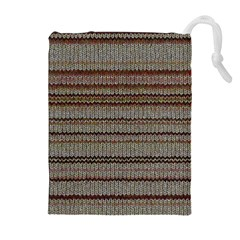 Stripy Knitted Wool Fabric Texture Drawstring Pouches (extra Large)