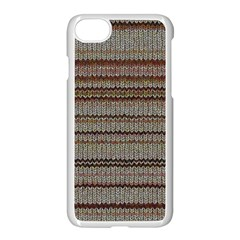 Stripy Knitted Wool Fabric Texture Apple Iphone 7 Seamless Case (white) by BangZart