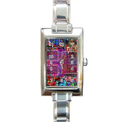 Technology Circuit Board Layout Pattern Rectangle Italian Charm Watch by BangZart