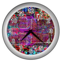 Technology Circuit Board Layout Pattern Wall Clocks (silver)  by BangZart