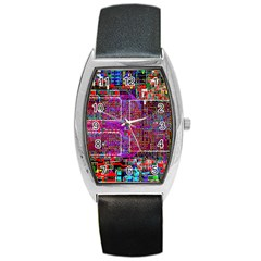 Technology Circuit Board Layout Pattern Barrel Style Metal Watch