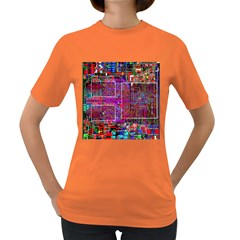 Technology Circuit Board Layout Pattern Women s Dark T Shirt