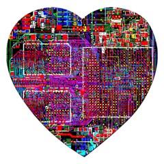 Technology Circuit Board Layout Pattern Jigsaw Puzzle (heart) by BangZart