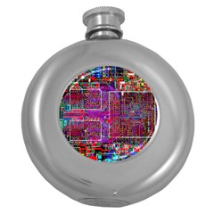 Technology Circuit Board Layout Pattern Round Hip Flask (5 Oz)