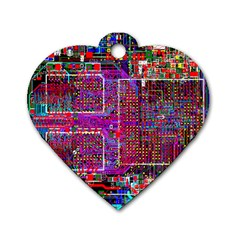 Technology Circuit Board Layout Pattern Dog Tag Heart (two Sides)