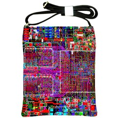 Technology Circuit Board Layout Pattern Shoulder Sling Bags by BangZart