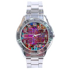 Technology Circuit Board Layout Pattern Stainless Steel Analogue Watch by BangZart