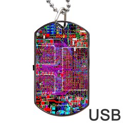 Technology Circuit Board Layout Pattern Dog Tag Usb Flash (two Sides) by BangZart