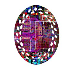 Technology Circuit Board Layout Pattern Oval Filigree Ornament (two Sides) by BangZart