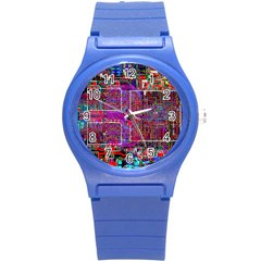 Technology Circuit Board Layout Pattern Round Plastic Sport Watch (s)