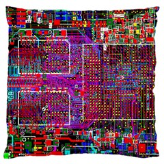 Technology Circuit Board Layout Pattern Large Cushion Case (two Sides) by BangZart