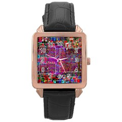 Technology Circuit Board Layout Pattern Rose Gold Leather Watch