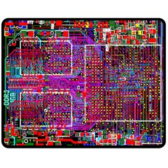 Technology Circuit Board Layout Pattern Double Sided Fleece Blanket (medium)  by BangZart