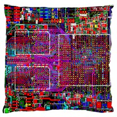Technology Circuit Board Layout Pattern Large Flano Cushion Case (one Side) by BangZart