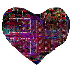 Technology Circuit Board Layout Pattern Large 19  Premium Flano Heart Shape Cushions by BangZart