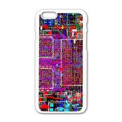Technology Circuit Board Layout Pattern Apple Iphone 6/6s White Enamel Case by BangZart