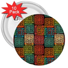Stract Decorative Ethnic Seamless Pattern Aztec Ornament Tribal Art Lace Folk Geometric Background C 3  Buttons (10 Pack)  by BangZart