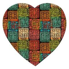 Stract Decorative Ethnic Seamless Pattern Aztec Ornament Tribal Art Lace Folk Geometric Background C Jigsaw Puzzle (heart) by BangZart