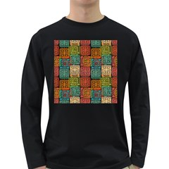 Stract Decorative Ethnic Seamless Pattern Aztec Ornament Tribal Art Lace Folk Geometric Background C Long Sleeve Dark T Shirts