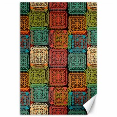 Stract Decorative Ethnic Seamless Pattern Aztec Ornament Tribal Art Lace Folk Geometric Background C Canvas 12  X 18