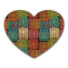 Stract Decorative Ethnic Seamless Pattern Aztec Ornament Tribal Art Lace Folk Geometric Background C Heart Mousepads by BangZart