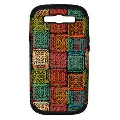 Stract Decorative Ethnic Seamless Pattern Aztec Ornament Tribal Art Lace Folk Geometric Background C Samsung Galaxy S Iii Hardshell Case (pc+silicone) by BangZart