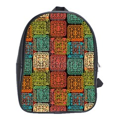 Stract Decorative Ethnic Seamless Pattern Aztec Ornament Tribal Art Lace Folk Geometric Background C School Bags (xl)