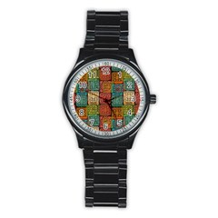 Stract Decorative Ethnic Seamless Pattern Aztec Ornament Tribal Art Lace Folk Geometric Background C Stainless Steel Round Watch