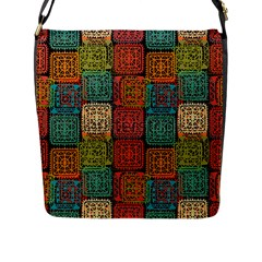 Stract Decorative Ethnic Seamless Pattern Aztec Ornament Tribal Art Lace Folk Geometric Background C Flap Messenger Bag (l)  by BangZart