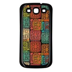 Stract Decorative Ethnic Seamless Pattern Aztec Ornament Tribal Art Lace Folk Geometric Background C Samsung Galaxy S3 Back Case (black) by BangZart