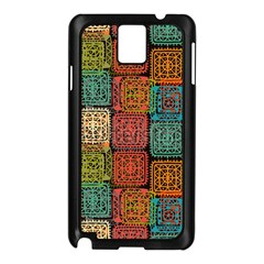 Stract Decorative Ethnic Seamless Pattern Aztec Ornament Tribal Art Lace Folk Geometric Background C Samsung Galaxy Note 3 N9005 Case (black)