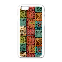 Stract Decorative Ethnic Seamless Pattern Aztec Ornament Tribal Art Lace Folk Geometric Background C Apple Iphone 6/6s White Enamel Case by BangZart