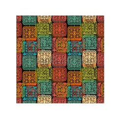 Stract Decorative Ethnic Seamless Pattern Aztec Ornament Tribal Art Lace Folk Geometric Background C Small Satin Scarf (square)