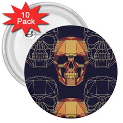 Skull Pattern 3  Buttons (10 Pack)