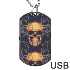 Skull Pattern Dog Tag Usb Flash (two Sides) by BangZart
