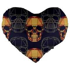 Skull Pattern Large 19  Premium Flano Heart Shape Cushions