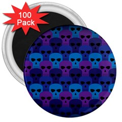 Skull Pattern Wallpaper 3  Magnets (100 Pack) by BangZart