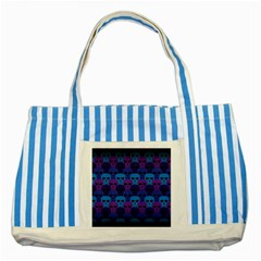 Skull Pattern Wallpaper Striped Blue Tote Bag