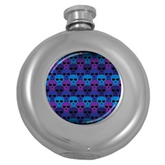 Skull Pattern Wallpaper Round Hip Flask (5 Oz) by BangZart
