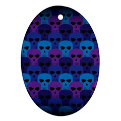 Skull Pattern Wallpaper Oval Ornament (two Sides)